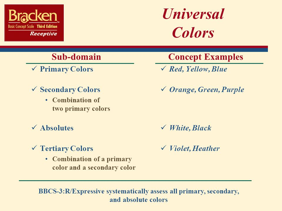 Universal Colors Sub-domain Concept Examples Primary Colors