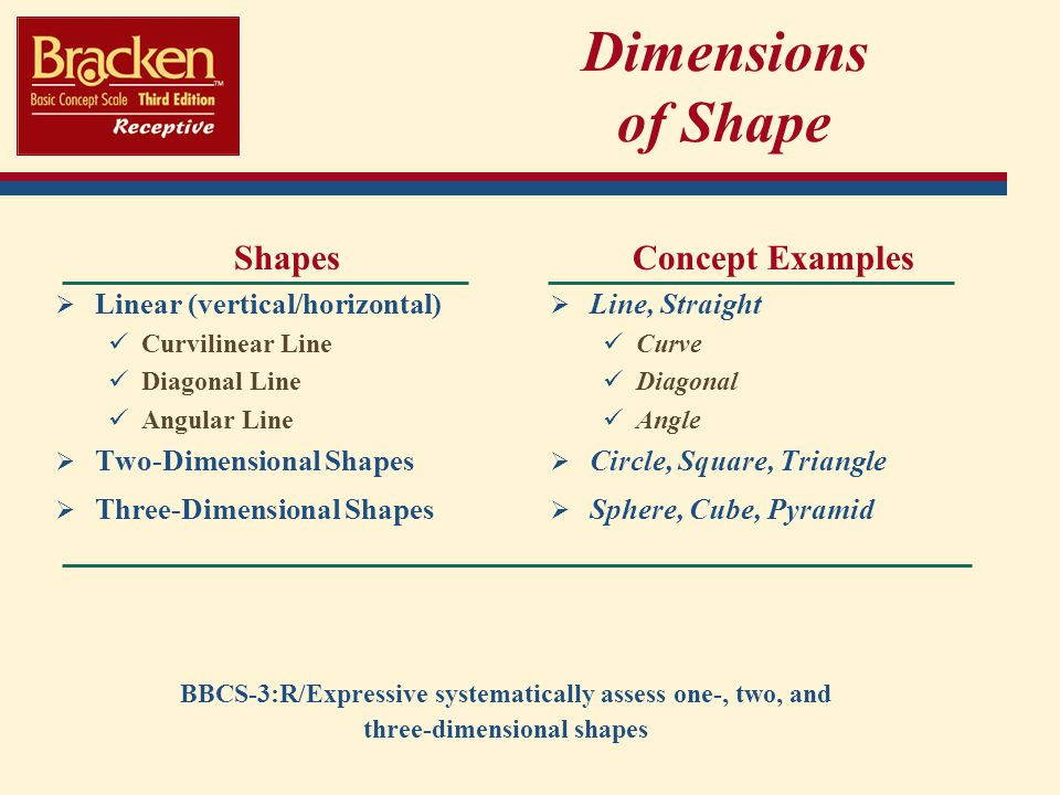 Dimensions of Shape Shapes Concept Examples