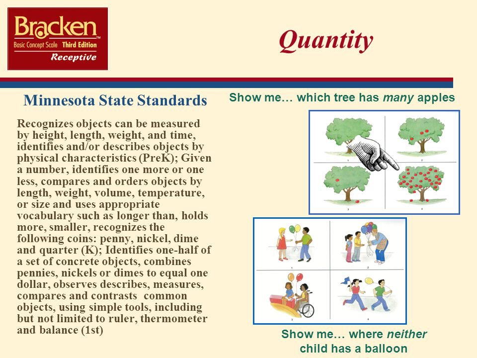 Quantity Minnesota State Standards Show me… which tree has many apples