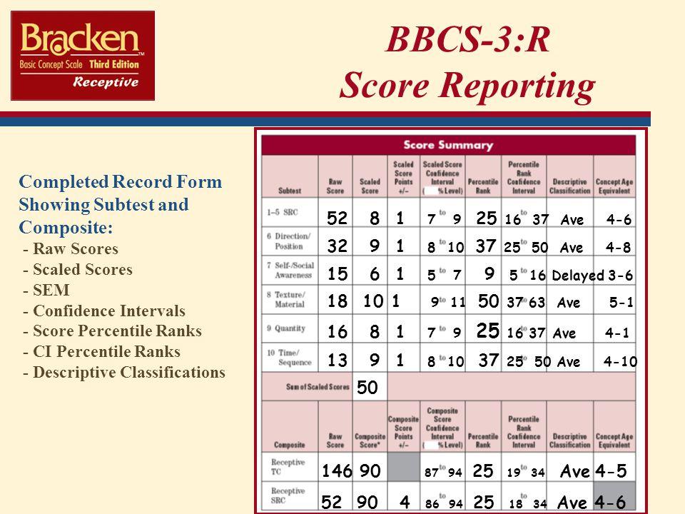 BBCS-3:R Score Reporting