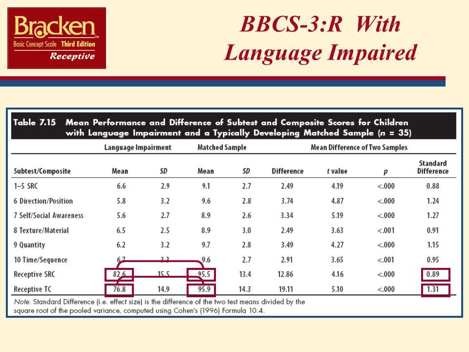BBCS-3:R With Language Impaired