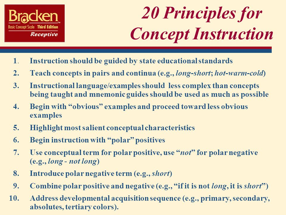 20 Principles for Concept Instruction