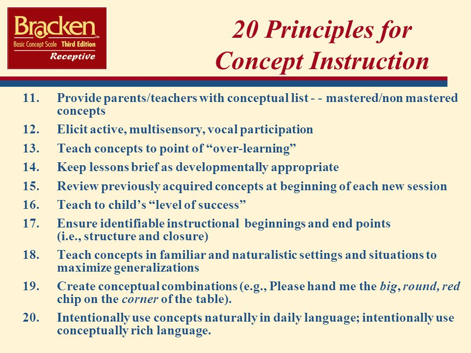 20 Principles for Concept Instruction