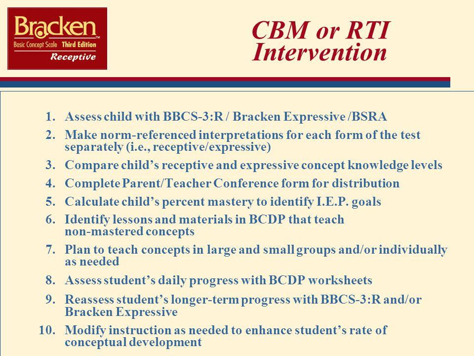 CBM or RTI Intervention