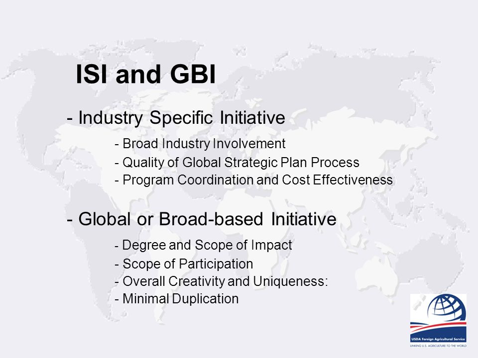 ISI and GBI - Industry Specific Initiative