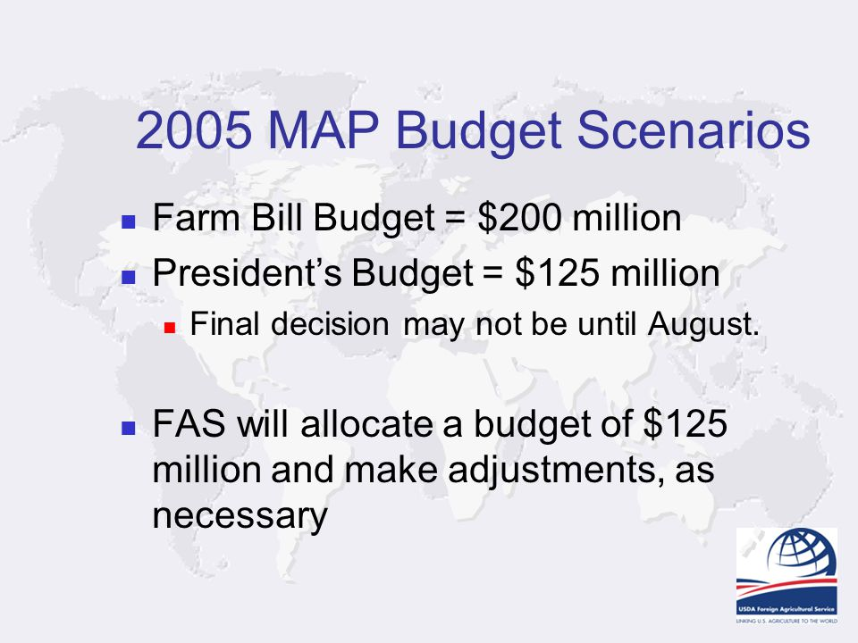 2005 MAP Budget Scenarios Farm Bill Budget = $200 million