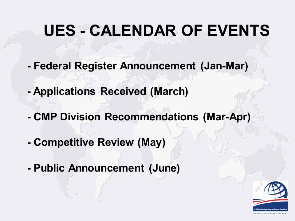 UES - CALENDAR OF EVENTS