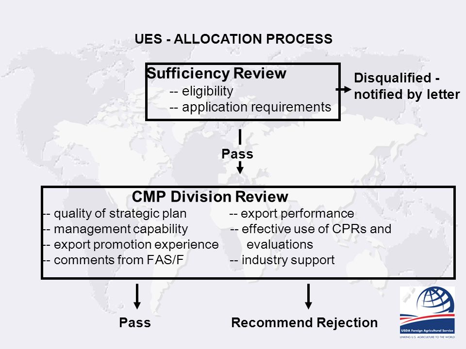 Sufficiency Review CMP Division Review UES - ALLOCATION PROCESS