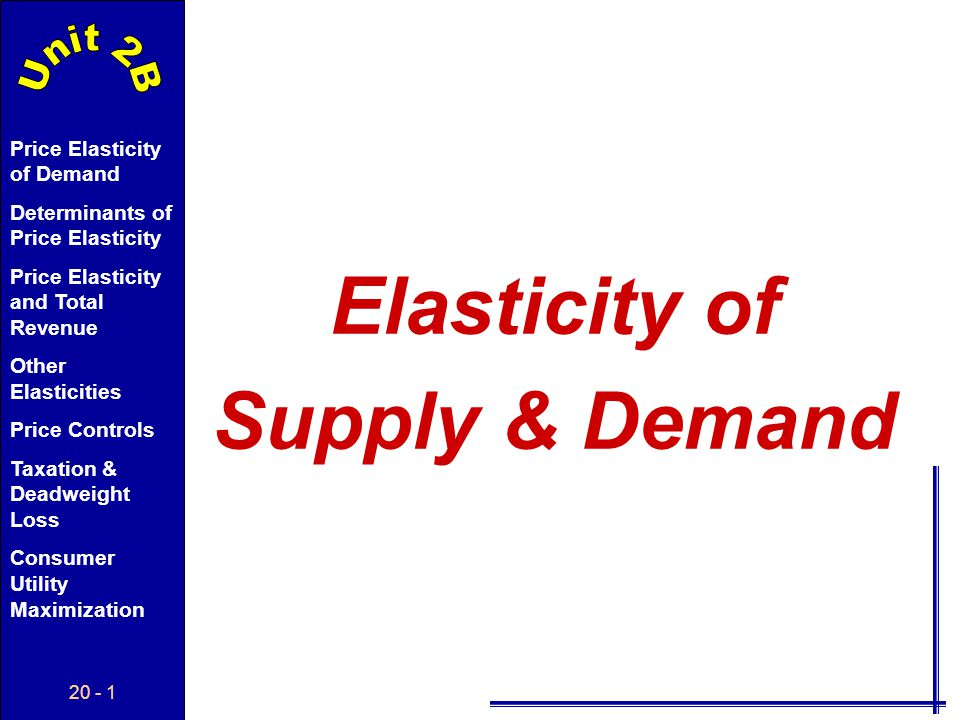 Elasticity of Supply & Demand