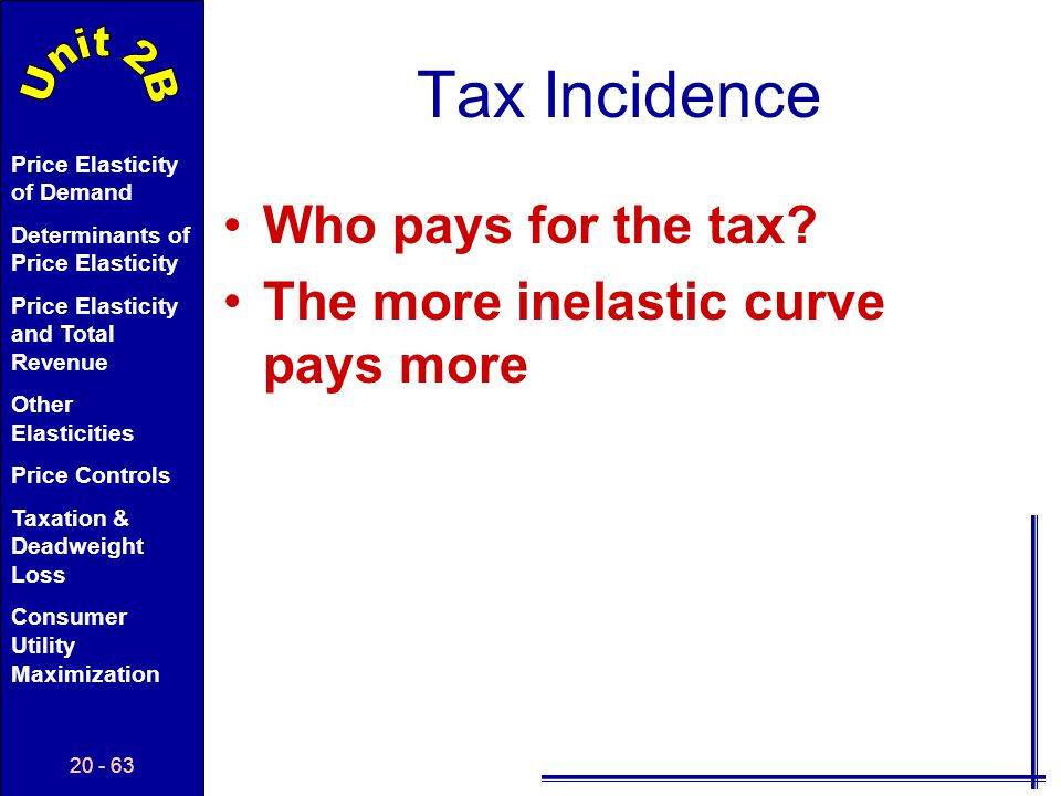 Tax Incidence Who pays for the tax The more inelastic curve pays more