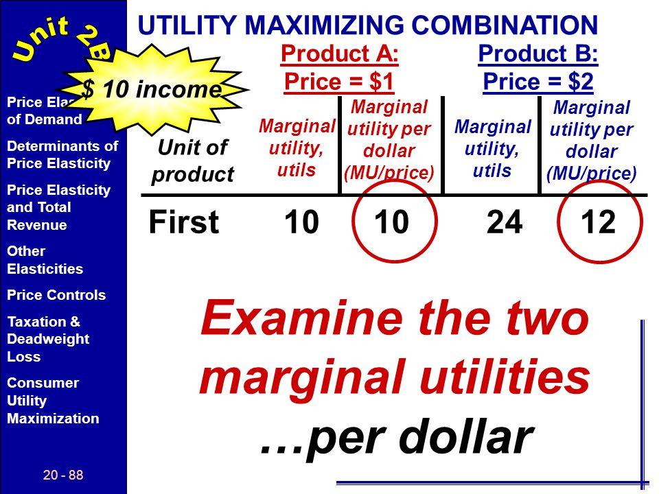 Examine the two marginal utilities …per dollar
