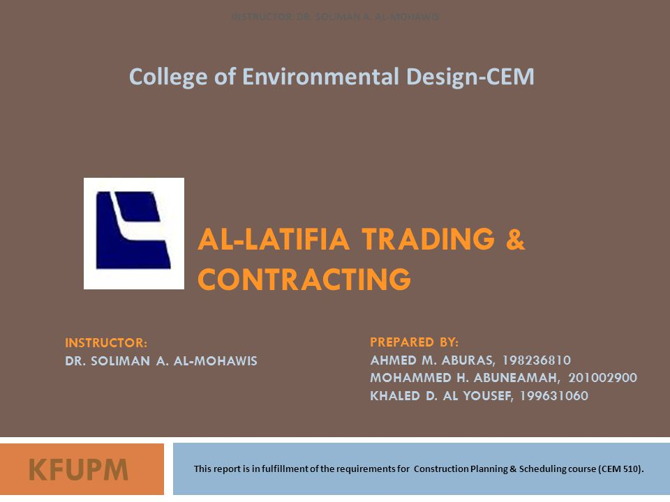 INSTRUCTOR: DR. SOLIMAN A. AL-MOHAWIS