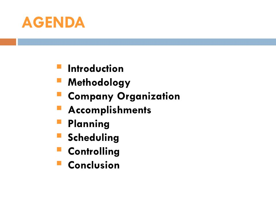 AGENDA Introduction Methodology Company Organization Accomplishments