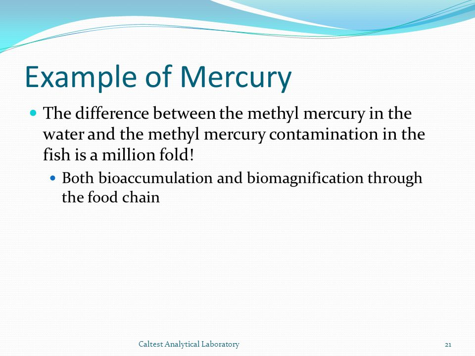 Example of Mercury The difference between the methyl mercury in the water and the methyl mercury contamination in the fish is a million fold!