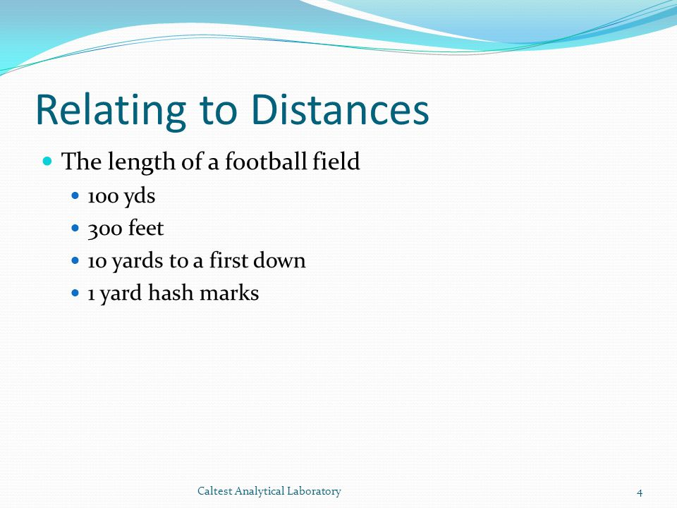 Relating to Distances The length of a football field 100 yds 300 feet