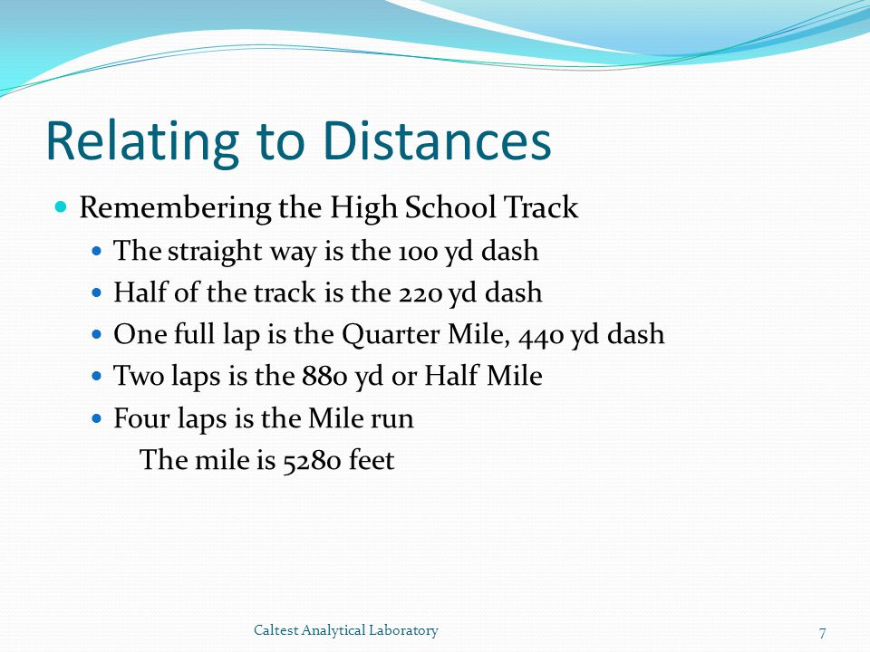 Relating to Distances Remembering the High School Track