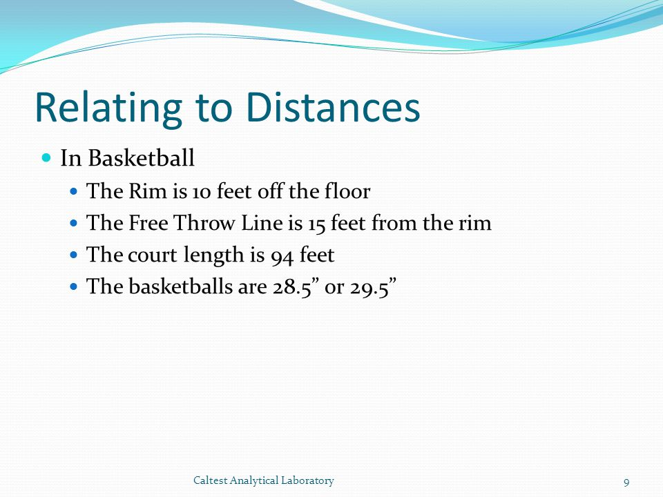 Relating to Distances In Basketball The Rim is 10 feet off the floor