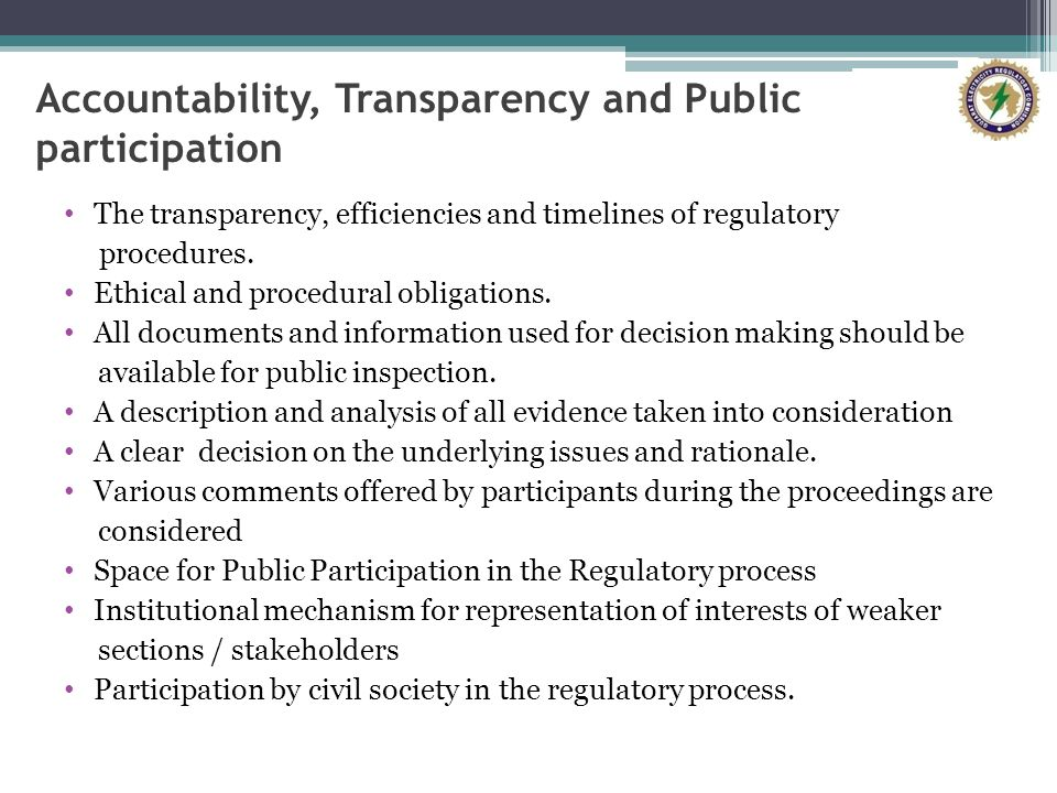 Accountability, Transparency and Public participation