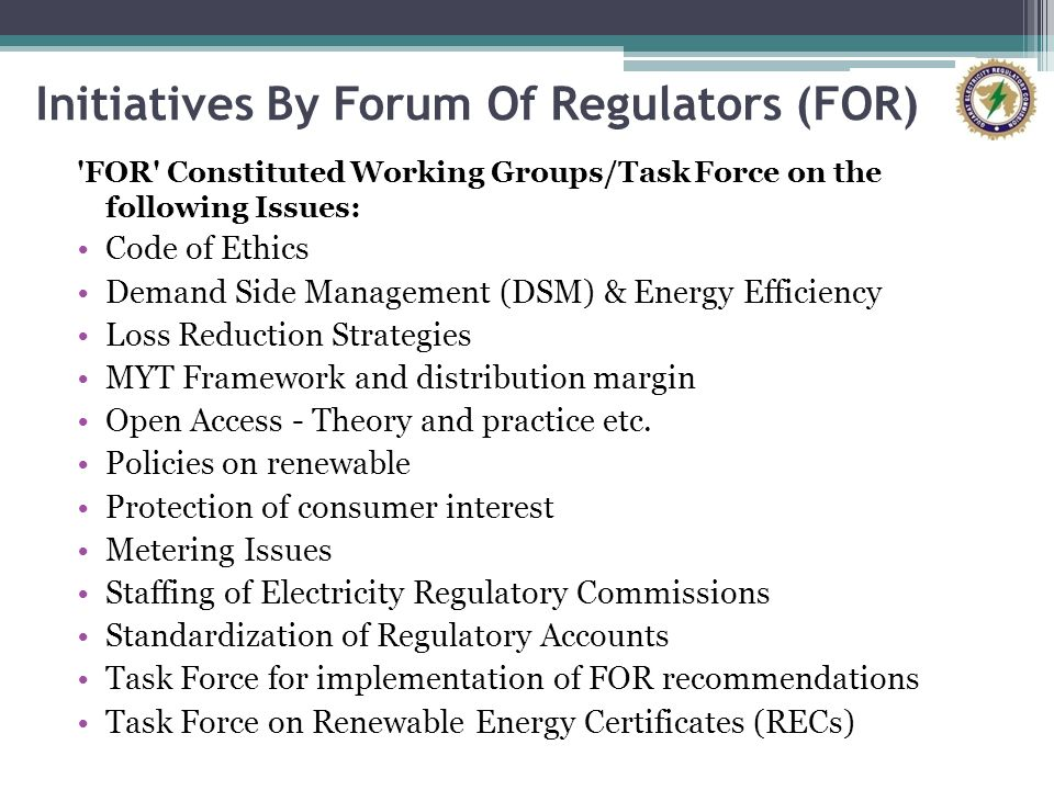 Initiatives By Forum Of Regulators (FOR)