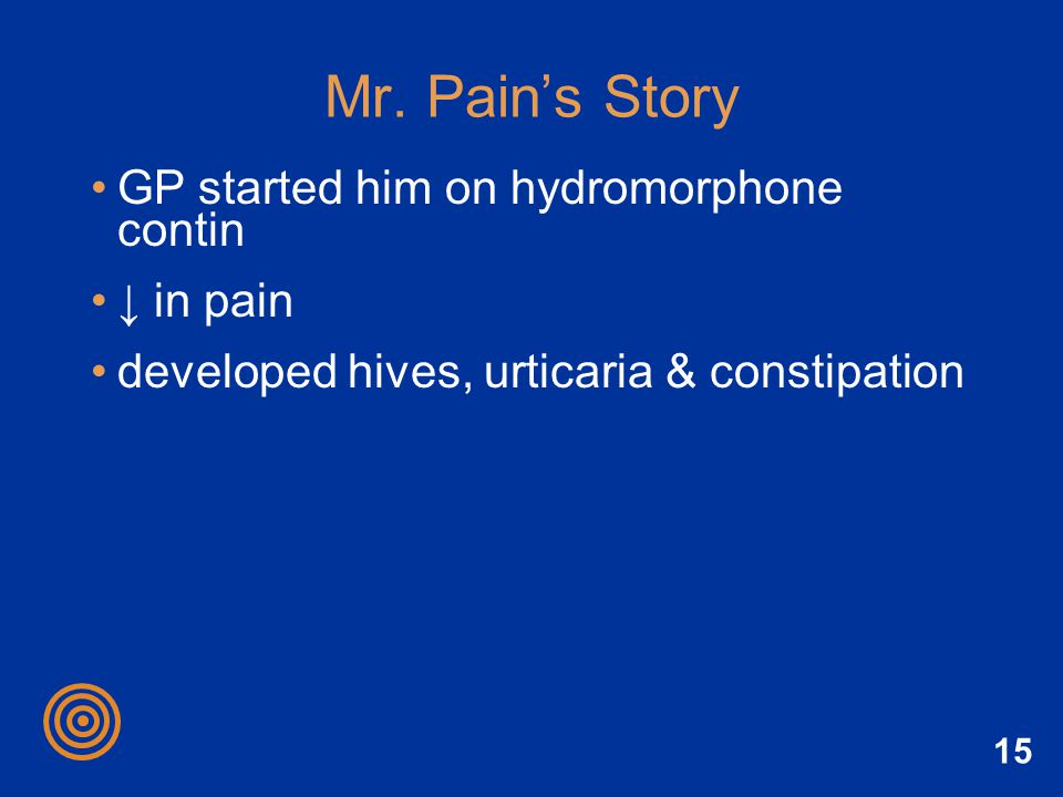 Mr. Pain's Story GP started him on hydromorphone contin ↓ in pain