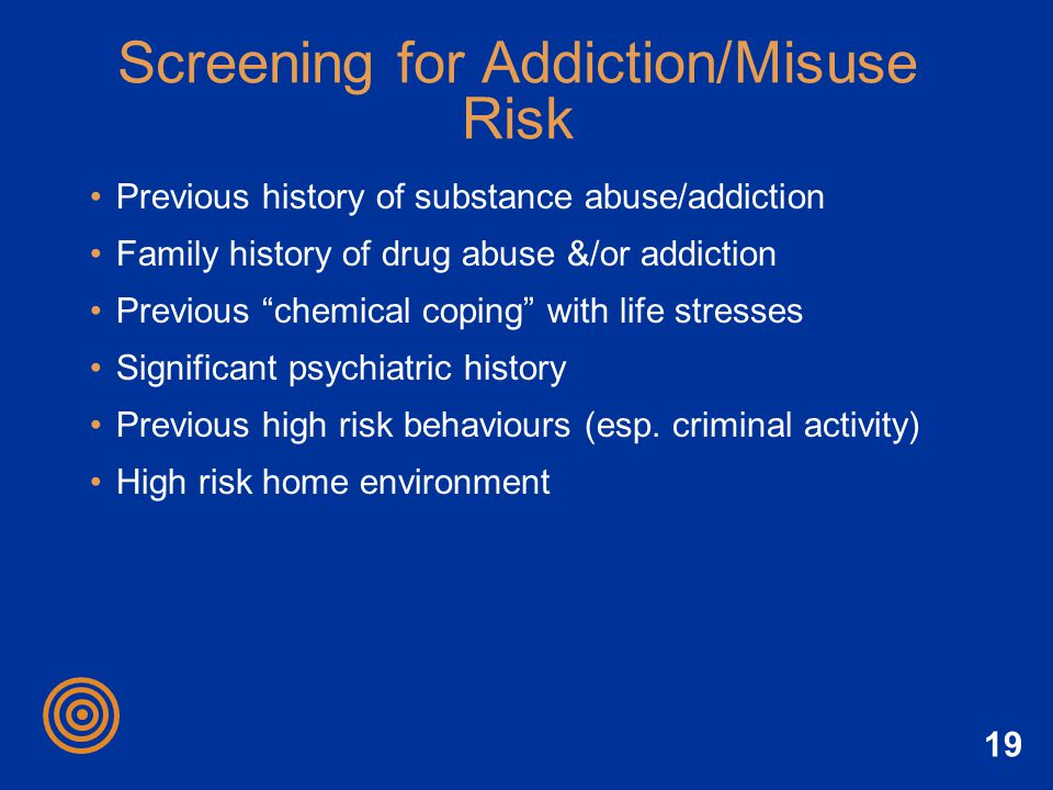 Screening for Addiction/Misuse Risk