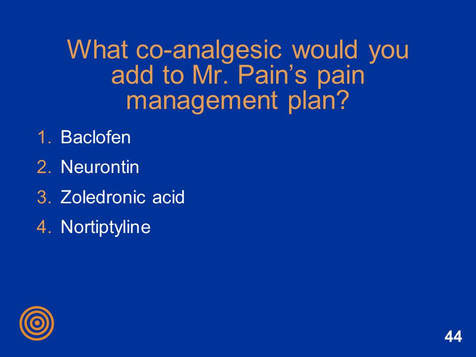 What co-analgesic would you add to Mr. Pain's pain management plan