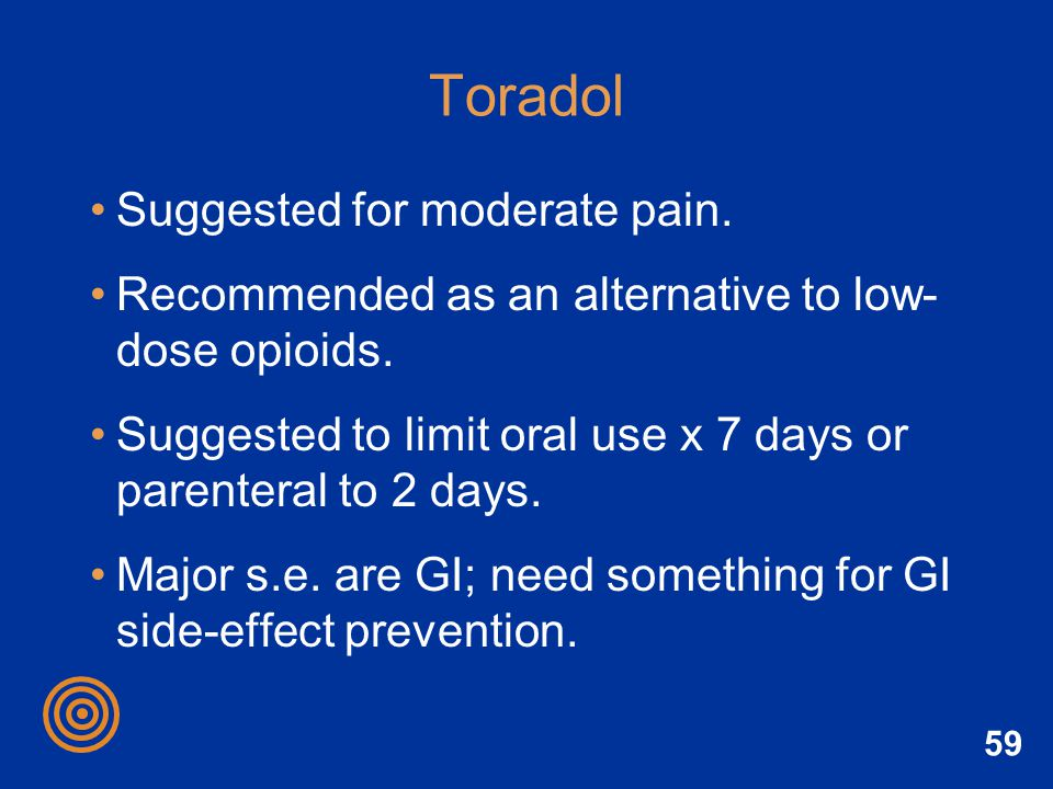 Toradol Suggested for moderate pain.