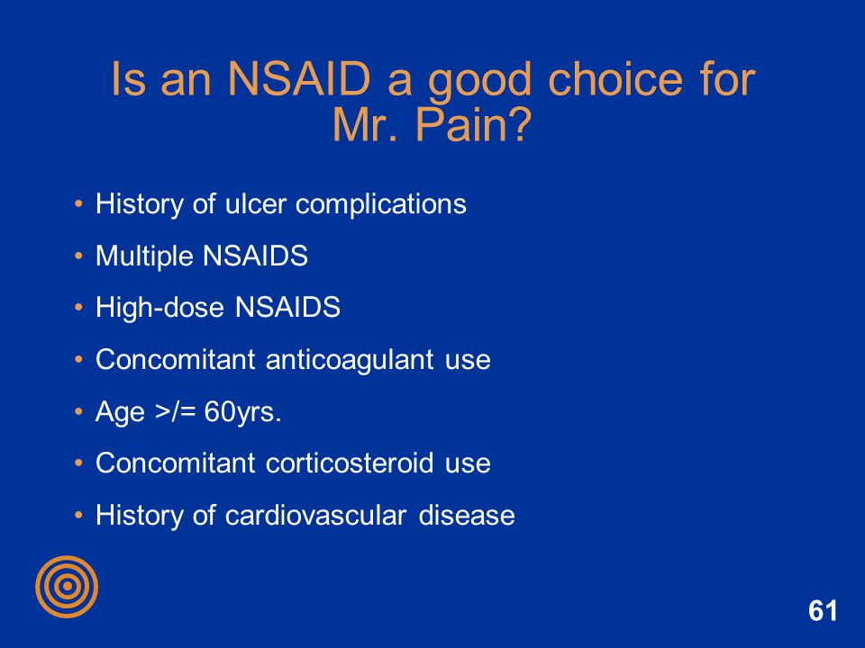 Is an NSAID a good choice for Mr. Pain