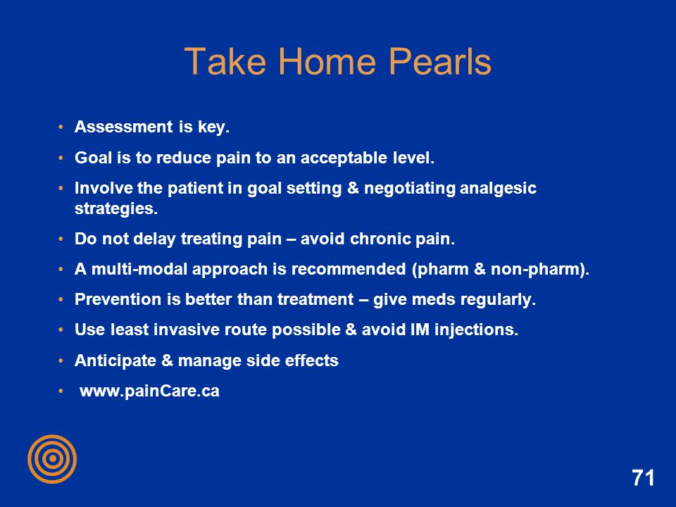 Take Home Pearls Assessment is key.