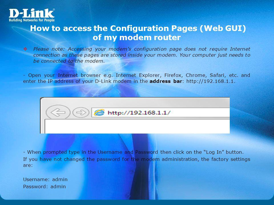 How to access the Configuration Pages (Web GUI) of my modem router