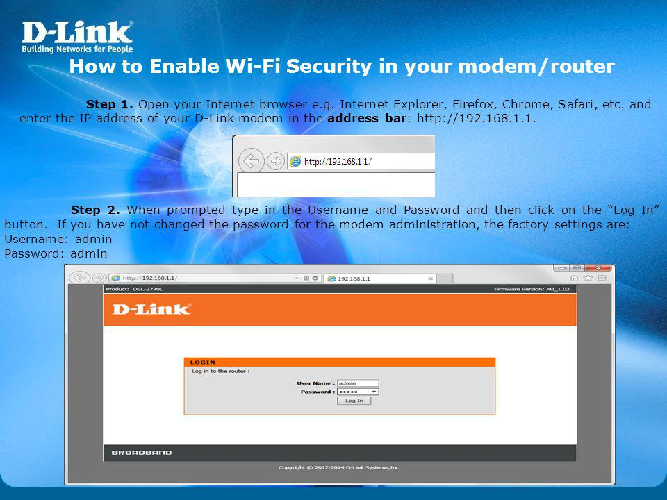 How to Enable Wi-Fi Security in your modem/router
