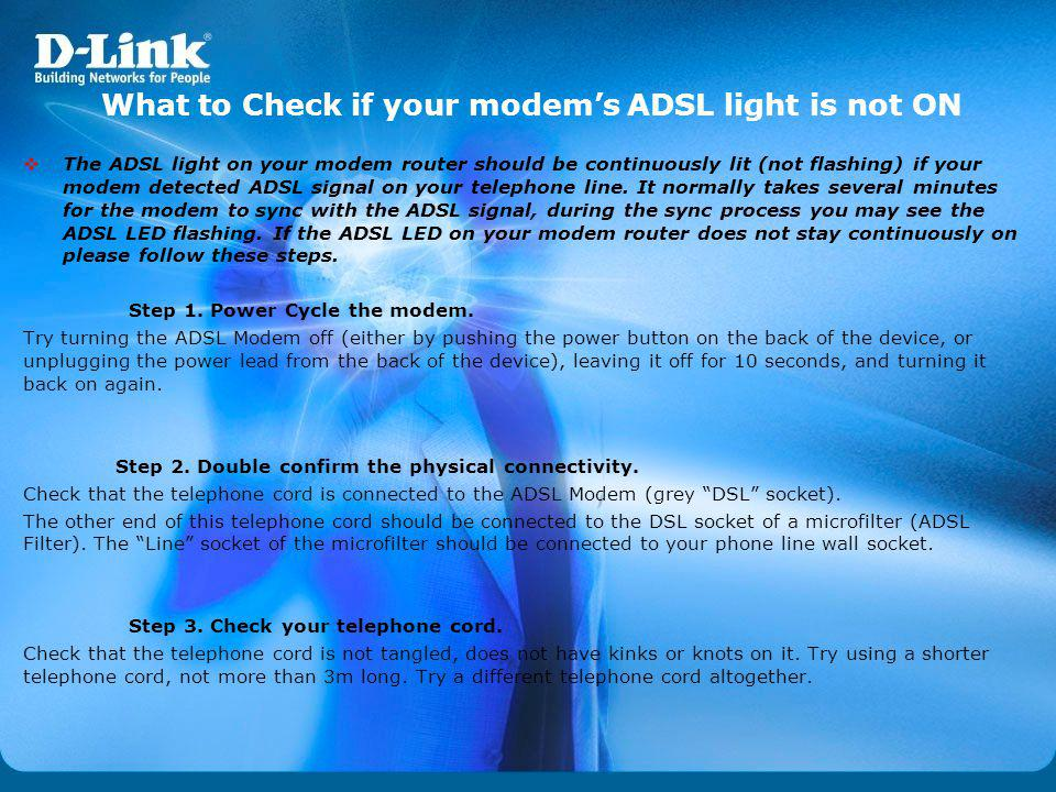 What to Check if your modem's ADSL light is not ON