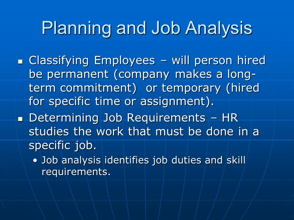 Planning and Job Analysis