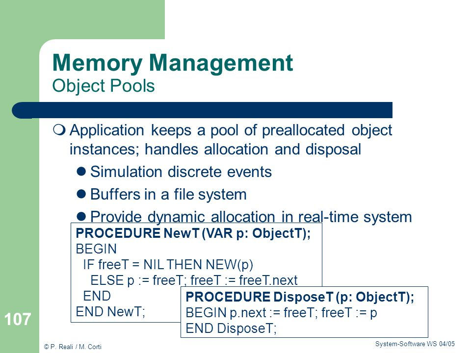 Memory Management Object Pools