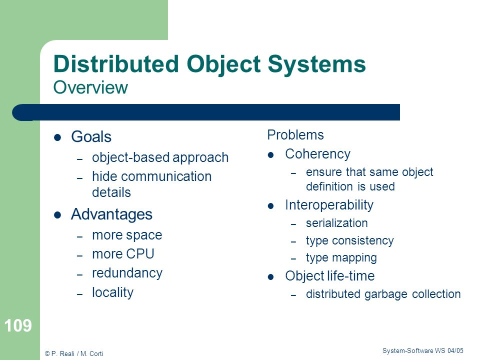 Distributed Object Systems Overview