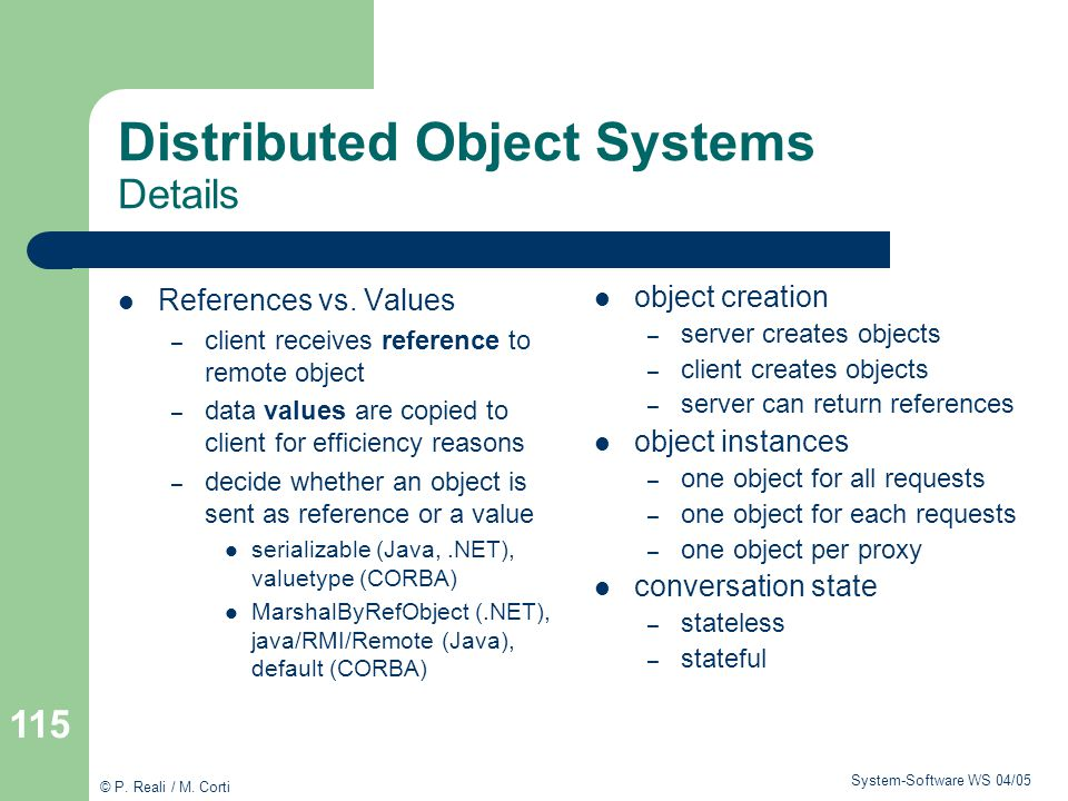 Distributed Object Systems Details