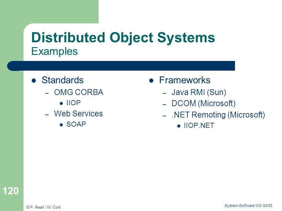 Distributed Object Systems Examples