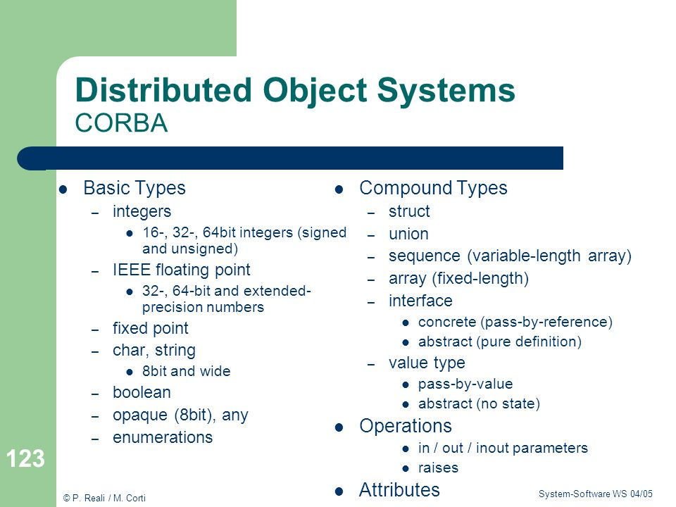 Distributed Object Systems CORBA