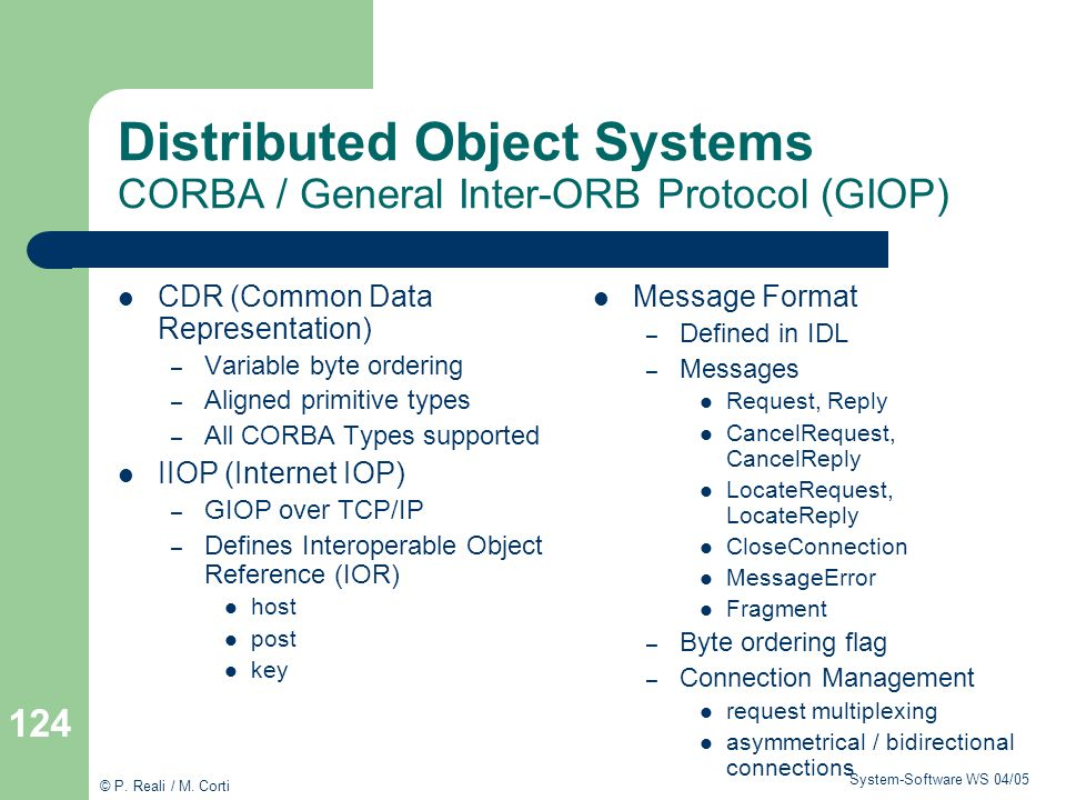 Distributed Object Systems CORBA / General Inter-ORB Protocol (GIOP)