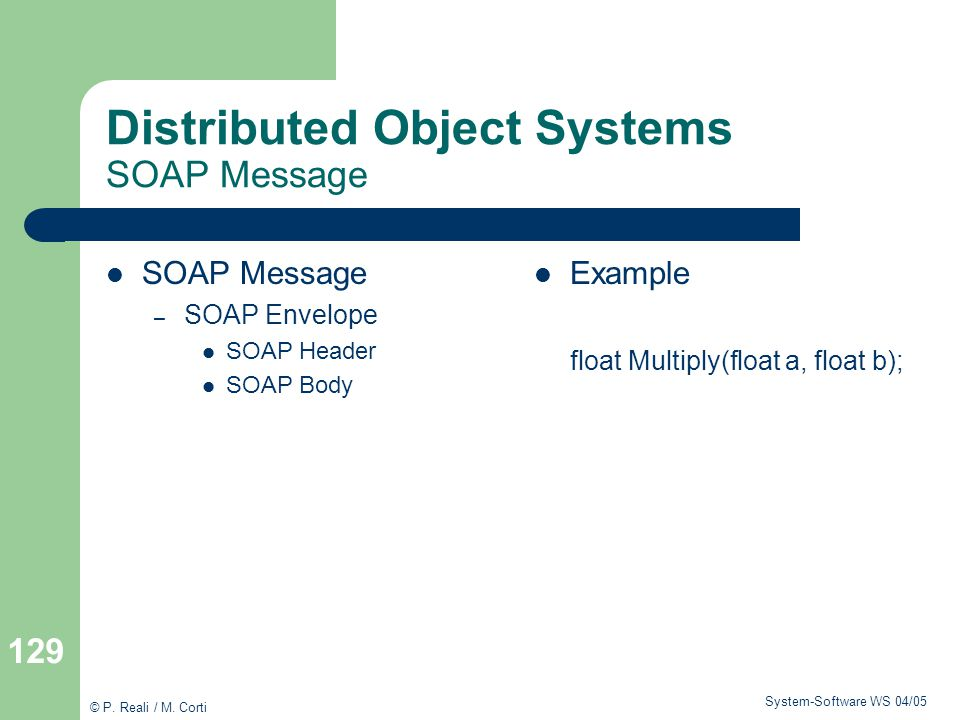 Distributed Object Systems SOAP Message