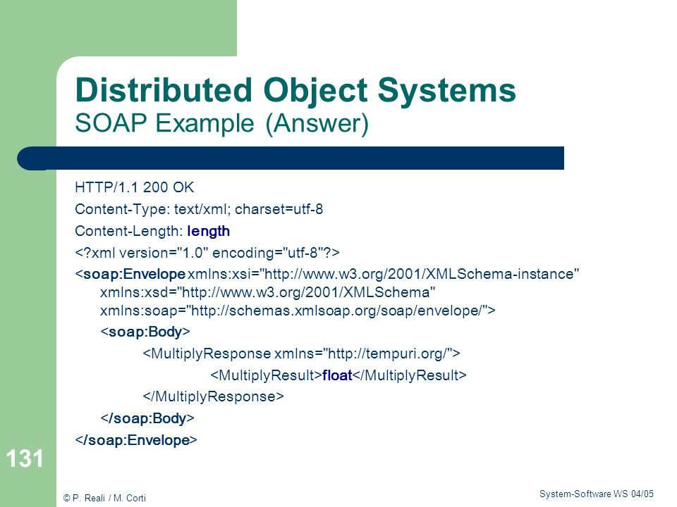 Distributed Object Systems SOAP Example (Answer)