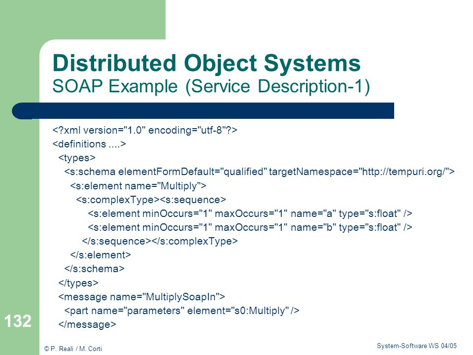Distributed Object Systems SOAP Example (Service Description-1)