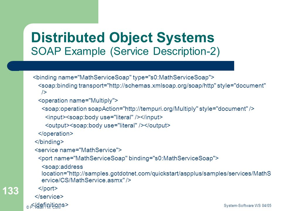 Distributed Object Systems SOAP Example (Service Description-2)