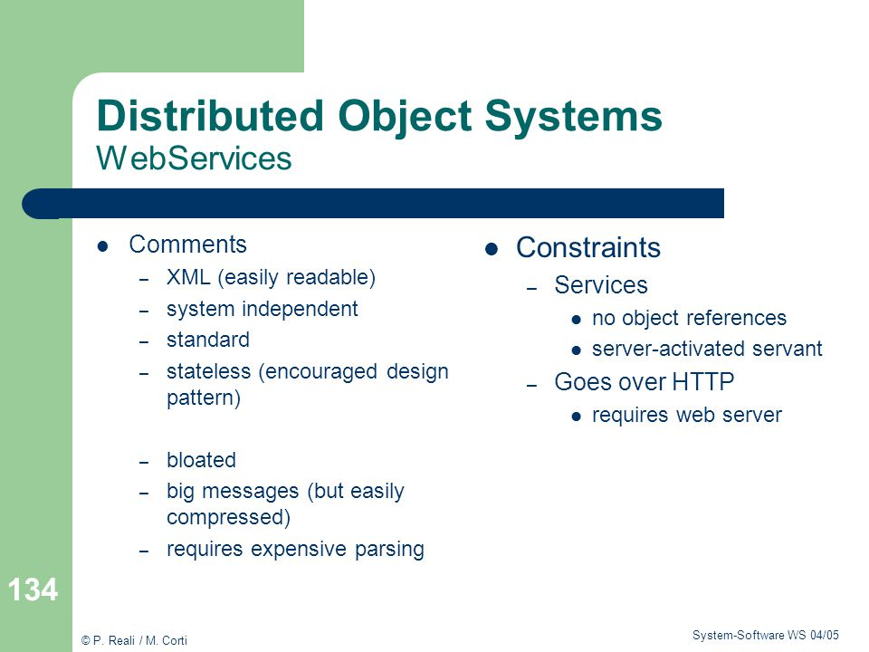 Distributed Object Systems WebServices