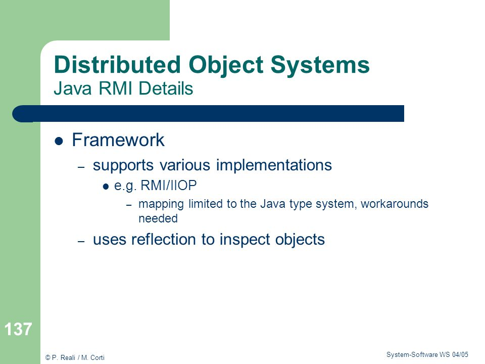 Distributed Object Systems Java RMI Details