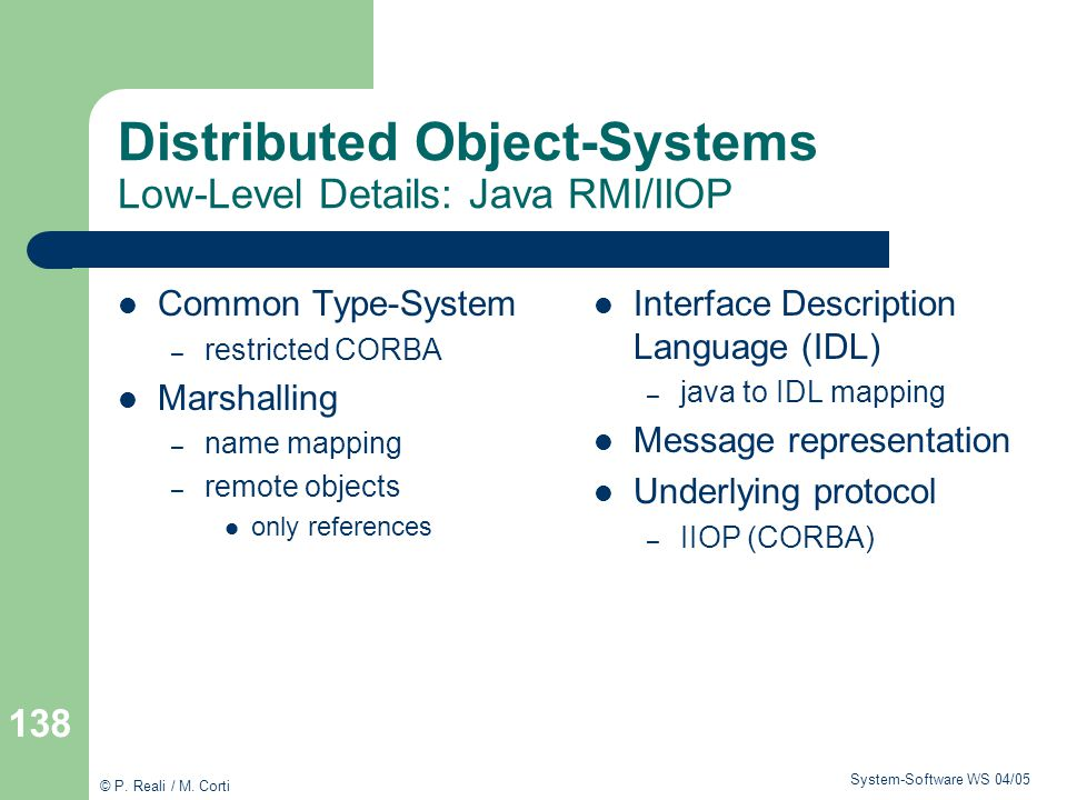 Distributed Object-Systems Low-Level Details: Java RMI/IIOP