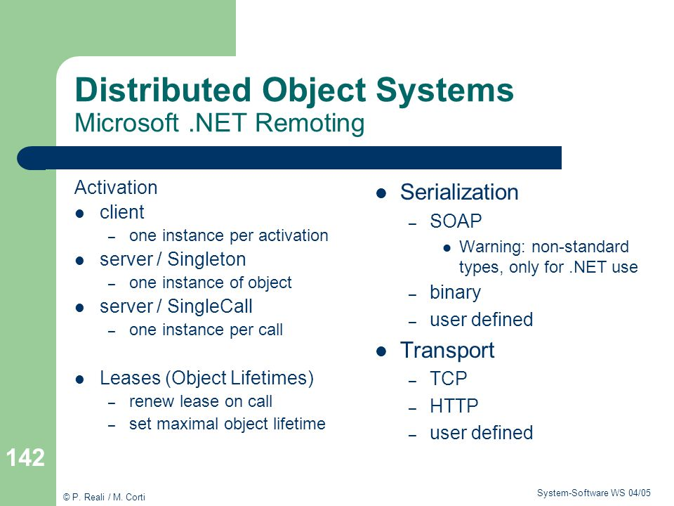 Distributed Object Systems Microsoft .NET Remoting