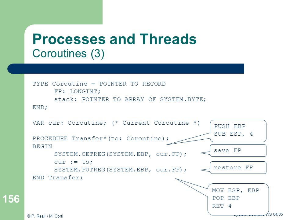 Processes and Threads Coroutines (3)