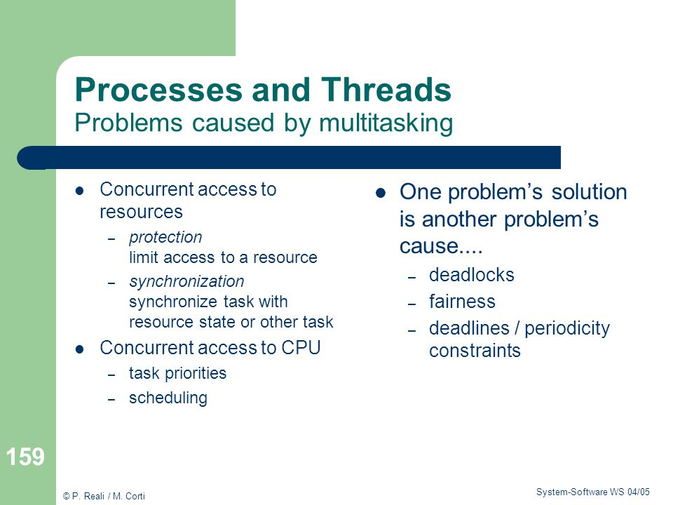 Processes and Threads Problems caused by multitasking