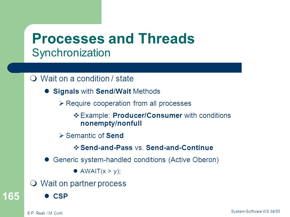 Processes and Threads Synchronization
